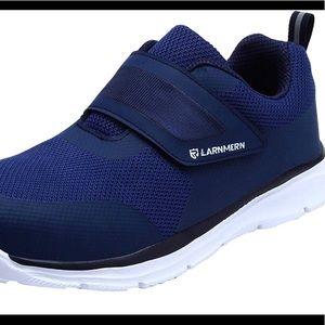 LARNMERN Mens Womens Steel Toe Work Shoes,Knit